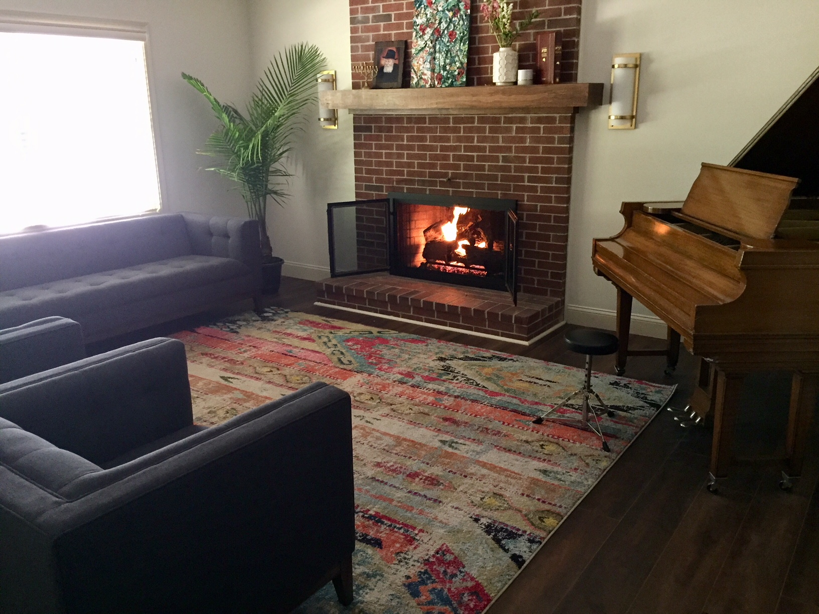 A welcoming fireplace greets visitors at CHabad of New Hampshire's Center for Jewish Life