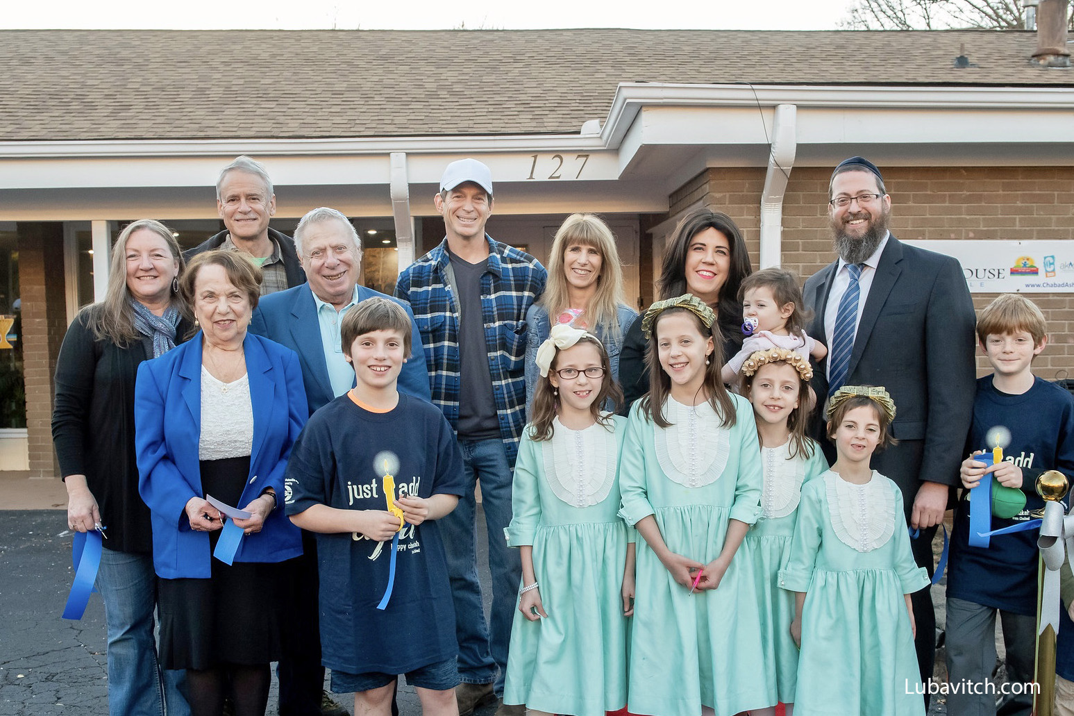 The Susskind family pose with dignitaries at the Grand Opening of Chabad House of Asheville, North Carolina